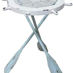 DRH Collectibles Nautical Ship Wheel Table - Made of Wood, Glass & Paddle Legs - Nautical Table f... | Amazon (US)