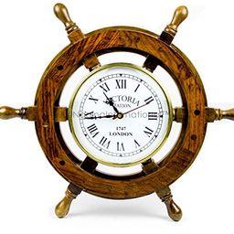 Nagina International Nautical Handcrafted Wooden Premium Wall Decor Wooden Clock Ship Wheels | Pi... | Amazon (US)