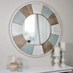 """FirsTime & Co. Cottage Timbers Accent Wall Mirror, 27"""", Aged Teal/Shabby White/Natural Wood 