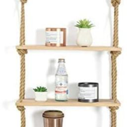 JayDee Decorative Hanging 3 Tier Natural Wood Floating Wall Shelves with Jute Rope-Home Decor Org... | Amazon (US)