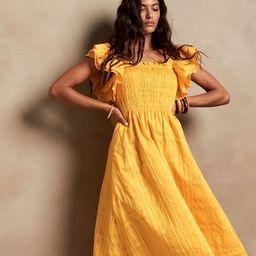 Smocked Ruffle Midi Dress   Banana Republic (US)