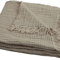 100% Organic Muslin Cotton Throw Blanket for Couch Adults, 4-Layer Plant Dyed Yarn, Soft Breathab... | Amazon (US)
