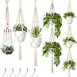 Mkono Macrame Plant Hanger Set of 5 Indoor Wall Hanging Planter Basket Flower Pot Holder Boho Hom... | Amazon (US)