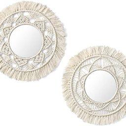Mkono Hanging Wall Mirror with Macrame Fringe 2 Set Small Round Decoration Boho Antique Mirror fo... | Amazon (US)