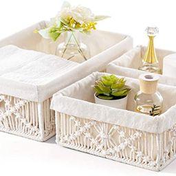 Mkono Macrame Storage Baskets Decor with Removable Cloth Liner Handmade Woven Boho Decor Decorati... | Amazon (US)