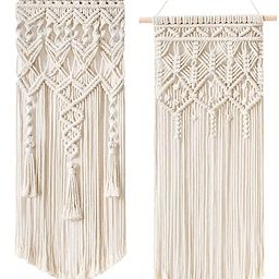 Mkono 2 Pcs Macrame Woven Wall Hanging Boho Home Chic Bohemian Geometric Art Decor - Beautiful Ap... | Amazon (US)