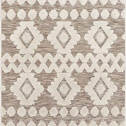 "Well Woven Bellagio Chiara Tribal Moroccan Beige High-Low Flat-Weave 5'3"" x 7'3"" Area Rug | Amazon (US)"