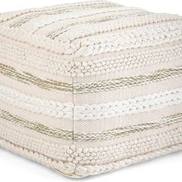 SIMPLIHOME Sommer Square Pouf, Footstool, Upholstered in Natural Handloom Woven Cotton Pattern, f... | Amazon (US)