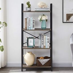 OIAHOMY Industrial Bookshelf, 4-Tier Bookcase and Bookshelves, Vintage Bookshelf with Metal Frame...   Amazon (US)