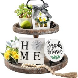 LIBWYS 4 Pcs Farmhouse Decors for Tiered Tray Farmhouse Home Decor Mini Signs Simply Blessed Home...   Amazon (US)