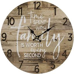Round Farmhouse Wall Clock - 13 Inches – Decorative Wood Style Quartz Battery Operated Rustic H...   Amazon (US)