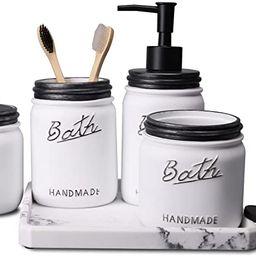 LKKL Mason Jar Bathroom Accessories Set 5 Pcs - Lotion Soap Dispenser & Toothbrush Holder & 2 Apo...   Amazon (US)
