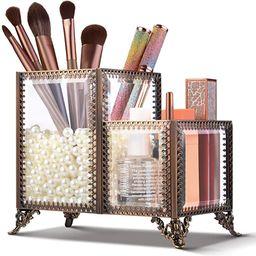 ikkle Makeup Brush Holder GlassCosmetic Organizer 2 Compartments Makeup Storage for Holding Bru...   Amazon (US)