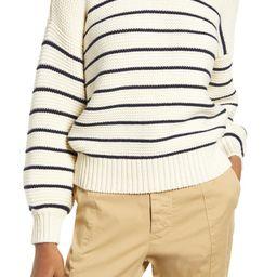 Women's Stripe Button Back Cotton Crewneck Sweater   Nordstrom
