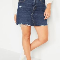 High-Waisted Button-Fly Cut-Off Jean Skirt for Women | Old Navy (US)