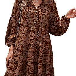 TEMOFON Women's Tunic Dress Leopard Floral Printed Long Sleeve Casual Loose V Neck Ruffle Swing M...   Amazon (US)