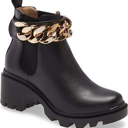 Womens Platform Ankle Boots Round Toe Gold Chain Chunky Booties Fashion Elastic Cord Rain Boot   Amazon (US)