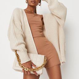 Tall Cream Knitted Batwing Sleeve Cardigan | Missguided (US & CA)