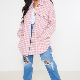 Plus Size Pink Gingham Plaid Shacket   Missguided (US & CA)