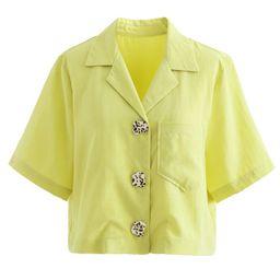 Notch Lapel Pocket Buttoned Crop Shirt in Yellow | Chicwish