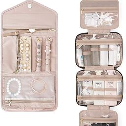 BAGSMART Toiletry Bag with Jewelry Organizer Roll, Pink | Amazon (US)