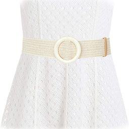Women Straw Woven Elastic Stretch Waist Band Belt Fashion Skinny Dress Belt Wooden Buckle at Amaz...   Amazon (US)