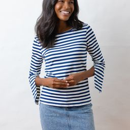 Wilshire Top in Repreve® Striped Jersey (Navy / White)   Dudley Stephens