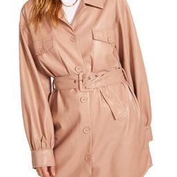 Faux Leather Belted Shirt Jacket   Nordstrom