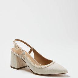 Esme Braided Canvas Block Heel Slingback Pumps | Ann Taylor (US)