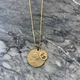 France Vintage Coin & Saint Christopher Gold Filled Necklace   Etsy (US)