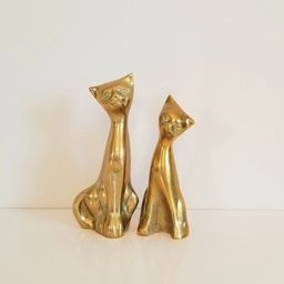 "Brass Cat Pair, 7"" tall, Mid Century Brass Cats, Brass Cat Couple, Brass Cats   Etsy (US)"