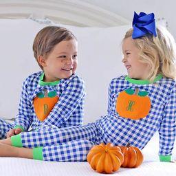 Pumpkin Applique Loungewear Royal Blue Gingham | Smocked Auctions