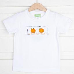Pumpkin Smocked Knit Shirt Plaid Piping | Smocked Auctions