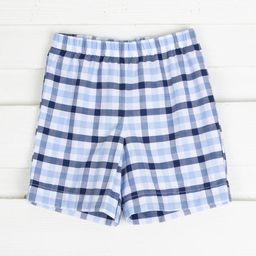 Navy and Light Blue Plaid Shorts | Smocked Auctions