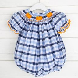 Pumpkin Smocked Bubble Navy and Light Blue Plaid | Smocked Auctions