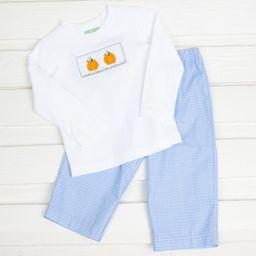 Pumpkin Smocked Pant Set Light Blue Plaid | Smocked Auctions