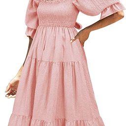 UIMLK Women's Puff Sleeve Smocked Gingham Off The Shoulder Back Bow Tie Flowy Cottagecore Bohemia... | Amazon (US)