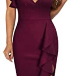 Knitee Women's Deep-V Neck Ruffle Sleeves Cocktail Party Pencil Slit Formal Dress   Amazon (US)