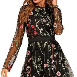 Milumia Women's Floral Embroidery Mesh Round Neck Tunic Party Dress   Amazon (US)