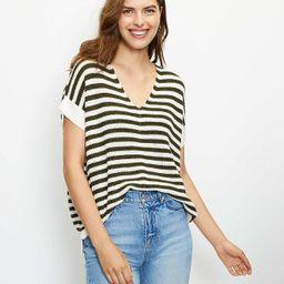 Striped V-Neck Poncho Sweater   LOFT