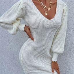 Lantern Sleeve Ribbed Knit Sweater Dress Without Belt | SHEIN