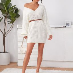 V-neck Cable Knit Sweater Dress Without Belt | SHEIN