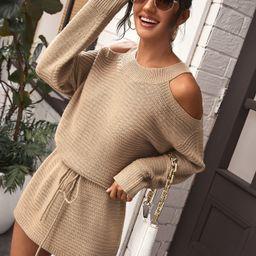 Cold Shoulder Tie Waist Sweater Dress | SHEIN