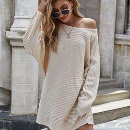 Batwing Sleeve Longline Sweater | SHEIN
