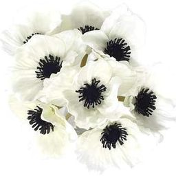 Floral Kingdom 8 pcs Real Touch Anemone Poppy Bouquet for Artificial Flower Decor (White)   Amazon (US)