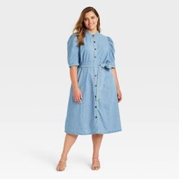 Women's Plus Size Puff Elbow Sleeve Shirtdress - Who What Wear™ Blue 4X   Target