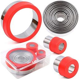 BakingWorld Round Cookie Cutter Set - 14 Piece Circle Shapes Stainless Steel Cookie Fondant Cutte... | Amazon (US)