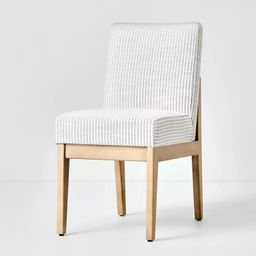 Upholstered Natural Wood Slipper Dining Chair Microstripe Gray/Oatmeal - Hearth & Hand™ with Ma... | Target