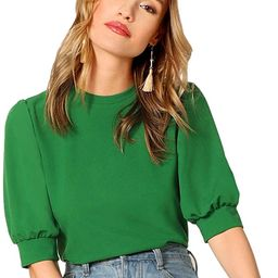 SheIn Women's Puff Sleeve Casual Solid Top Pullover Keyhole Back Blouse   Amazon (US)