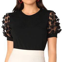 Romwe Women's Summer Short Sleeve Mock Neck Casual Blouse Tops   Amazon (US)
